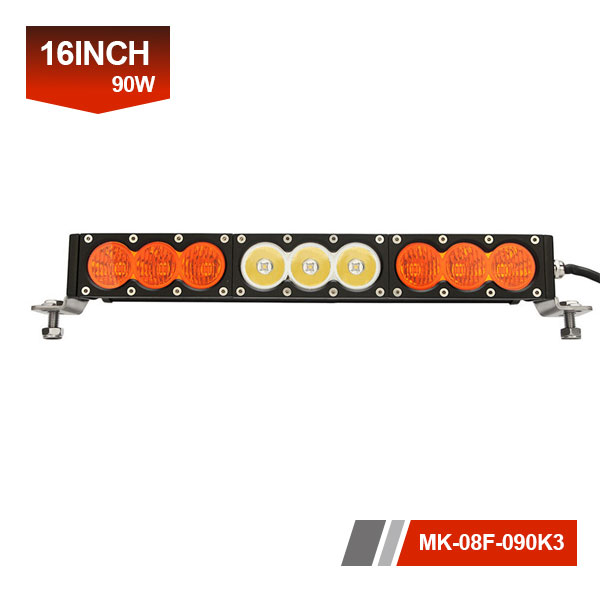 16inch 90W 3D Single Row amber light bar