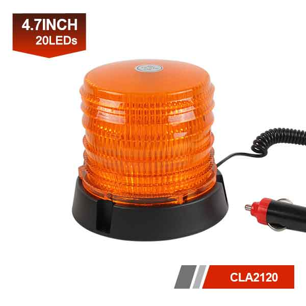 20 LEDs Amber Strobe Light Beacon with Magnetic Base
